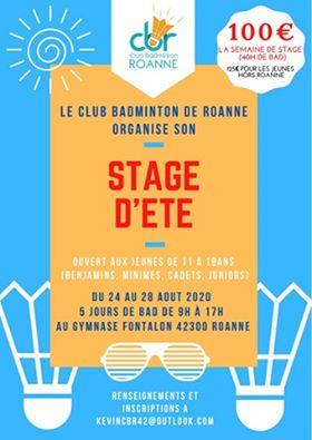 ☀️ Stage d'été jeunes organisé par le Club Badminton de Roanne ☀️
